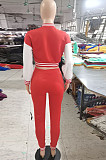 Red Wholesale Sport Spliced Long Sleeve Single-Breasted Jacket Coat Pantaloons Casual Sets FH176-1
