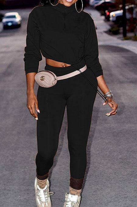 Black Women Long Sleeve Trendy Casual Pure Color High Elastic Pants Sets MR2128-1