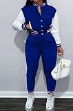 Blue Wholesale Sport Spliced Long Sleeve Single-Breasted Jacket Coat Pantaloons Casual Sets FH176-5