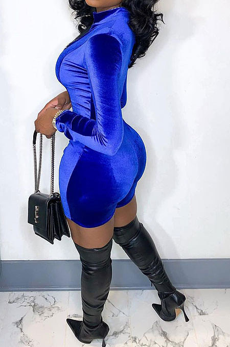Blue Women Sexy Trendy Skinny Korea Velvet Zipper Pure Color Romper Shorts QMX1021-5