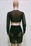 Black Sexy Mesh See-Through Hot Stamping Long Sleeve Bandage Strapless Hip Skirts Fashion Sets BN9306