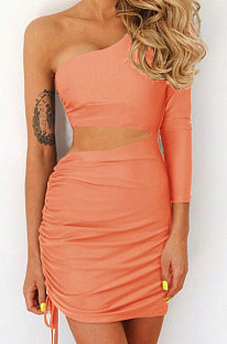 Orange Pink New Sexy Women Pure Color One Sleeve Hollow Out Bandage Hip Dress LZY8703-2