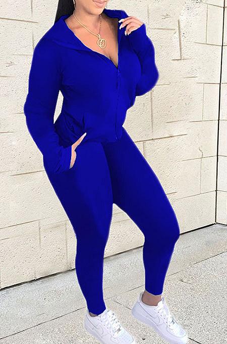 Blue Euramerican Women Zipper Hooded Fashion Sport Pure Color Long Sleeve Pants Sets XT8888-4