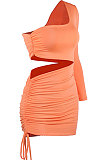 Khaki  New Sexy Women Pure Color One Sleeve Hollow Out Bandage Hip Dress LZY8703-4