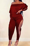 Wine Red Simple New Pure Color Zipper A Wrod Shoulder Long Sleeve Loose Tops Ankle Banded Pants Sets CYY00035-3