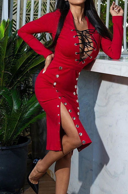 Red Autumn Winter Sexy Ribber Long Sleeve Bandage Double-Breasted Bodycon Slit Dress HHM6530-2