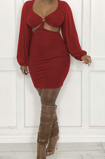 Red Sexy Fashion Dew Waist Strapless V Collar Solid Color Mini Dress QMX1020 -2