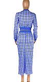 Green Women Digital Printing Ribber Long Sleeve Zipper Hip Skirts Sets YLY2666-4