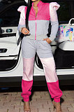 Multicolor Rose Contrast Color Spliced Puff Sleeve Zip Front Tops Ankle Banded Pants Sport Sets XUY9115-2