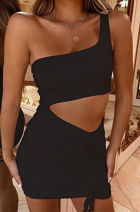 Black Wholesale Sexy Single Shoulder Hollow Out Bandage Ruffle Solid Color Hip Dress LZY9508-4