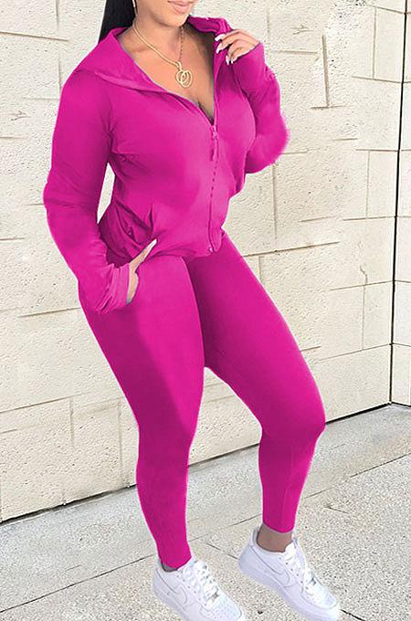Rose Red Euramerican Women Zipper Hooded Fashion Sport Pure Color Long Sleeve Pants Sets XT8888-2