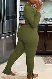 Army Green Autumn Winter Fashion Women Shirred Detail Ribber Pure Color Split Pants Sets XT8112-1