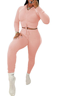 Pink Euramerican Women Hooded Drawsting Crop Solid Color Bodycon Casual Pants Sets AYQ08021-2
