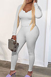 White Fashion Sexy Quality Ribber Long Sleeve Low Neck Bodycon Tops High Elastic Pencil Pants Solid Color Sets CYY00036-1