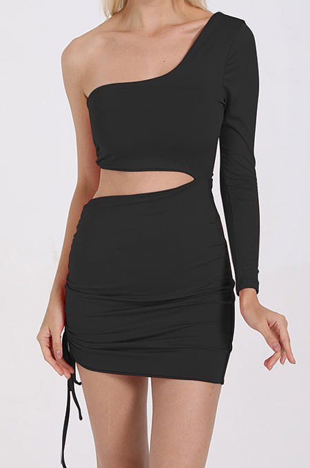 Black New Sexy Women Pure Color One Sleeve Hollow Out Bandage Hip Dress LZY8703-5