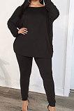 Black Euramerican New Positive And Negative Two Wear Loose Deep V Neck Tops Pencil Pants Fat Women Sets CYY00037-2