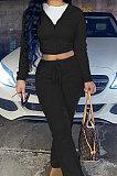 Khaki Euramerican Women Autumn Winter Drawsting Hooded Pockets Velvet Zipper Pants Sets MLM9079-4