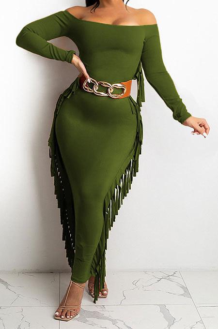 Dark Green Women Autumn Fashion Tassel Long Sleeve Bodycon Pure Color Long Dress SH7288-3