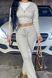 Gray Euramerican Women Autumn Winter Drawsting Hooded Pockets Velvet Zipper Pants Sets MLM9079-1