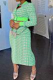 Pink Women Digital Printing Ribber Long Sleeve Zipper Hip Skirts Sets YLY2666-1