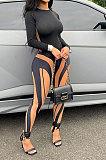 Black Red Women Autumn Sexy Trendy Tight Printing Long Sleeve Long Pants Sets SH7286-2