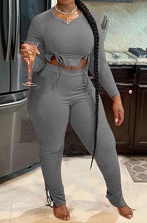 Gray Autumn Winter Fashion Women Shirred Detail Ribber Pure Color Split Pants Sets XT8112-3
