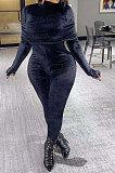 Black Women Korea Velvet Pure Color Irregular Ruffle Zipper Bodycon Jumpsuits PY0839