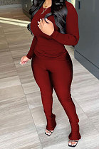 Wine Red Wholesale Pure Color Long Sleeve Round Neck T-Shirts Bodycon Flare Pants Casual Sets CYY00033-3