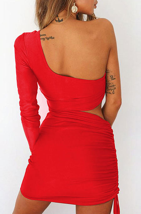 Red New Sexy Women Pure Color One Sleeve Hollow Out Bandage Hip Dress LZY8703-3