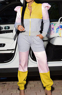 Multicolor Yellow Contrast Color Spliced Puff Sleeve Zip Front Tops Ankle Banded Pants Sport Sets XUY9115-3