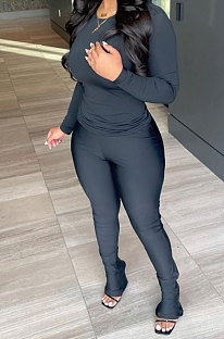 Black Wholesale Pure Color Long Sleeve Round Neck T-Shirts Bodycon Flare Pants Casual Sets CYY00033-2