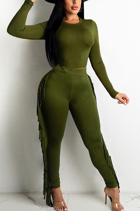 Dark Green Women Autumn Fashion Tassel Long Sleeve Bodycon Pure Color Pants Sets SH7287-3