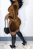 Coffee Women Sexy Trendy Skinny Korea Velvet Zipper Pure Color Romper Shorts QMX1021-4