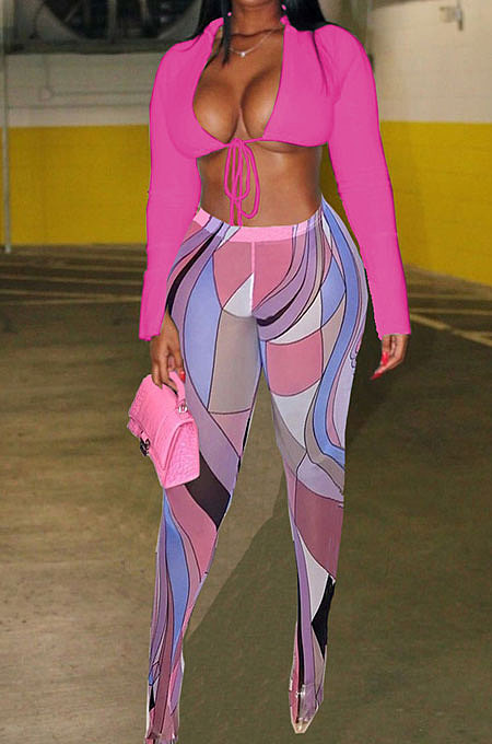 Pink Wholesale Sexy Pure Color Bandage Cradigan Tops Printing Bodycon Pantihose Two-Piece BN9307-3