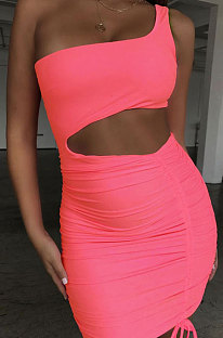 Fluorescent Pink Wholesale Sexy Single Shoulder Hollow Out Bandage Ruffle Solid Color Hip Dress LZY9508-1