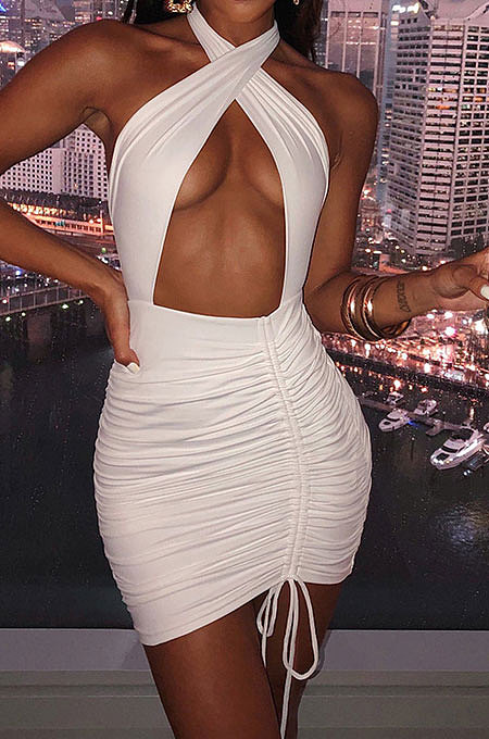 White Euramerican Women Sexy Solid Color Halter Neck Hollow Out Sleeveless Backless Drawsting Ruffle High Waist Mini Dress FWB20921-1