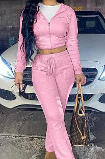 Pink Euramerican Women Autumn Winter Drawsting Hooded Pockets Velvet Zipper Pants Sets MLM9079-2