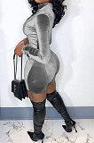 Gray Women Sexy Trendy Skinny Korea Velvet Zipper Pure Color Romper Shorts QMX1021-2