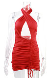Orange Euramerican Women Sexy Solid Color Halter Neck Hollow Out Sleeveless Backless Drawsting Ruffle High Waist Mini Dress FWB20921-2