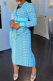 Light Blue Women Digital Printing Ribber Long Sleeve Zipper Hip Skirts Sets YLY2666-6
