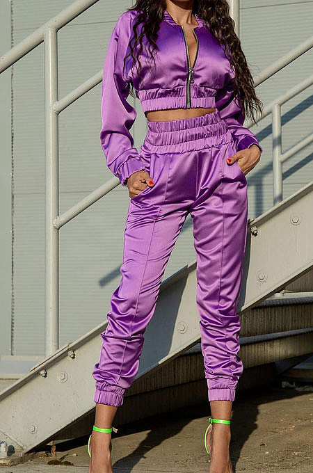 Purple Casual Quality Long Sleeve Zip Front Coat High Waist Ankle Banded Pants Solid Color Sport Sets HHM6529-4