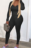 Black Fashion Sexy Quality Ribber Long Sleeve Low Neck Bodycon Tops High Elastic Pencil Pants Solid Color Sets CYY00036-1