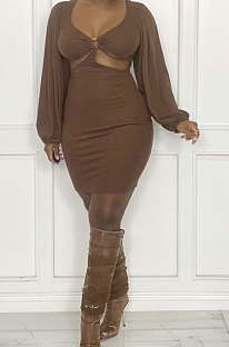 Coffee Sexy Fashion Dew Waist Strapless V Collar Solid Color Mini Dress QMX1020 -3