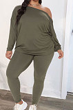 Red Euramerican New Positive And Negative Two Wear Loose Deep V Neck Tops Pencil Pants Fat Women Sets CYY00037-1