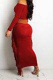 Black Women Autumn Fashion Tassel Long Sleeve Bodycon Pure Color Long Dress SH7288-1