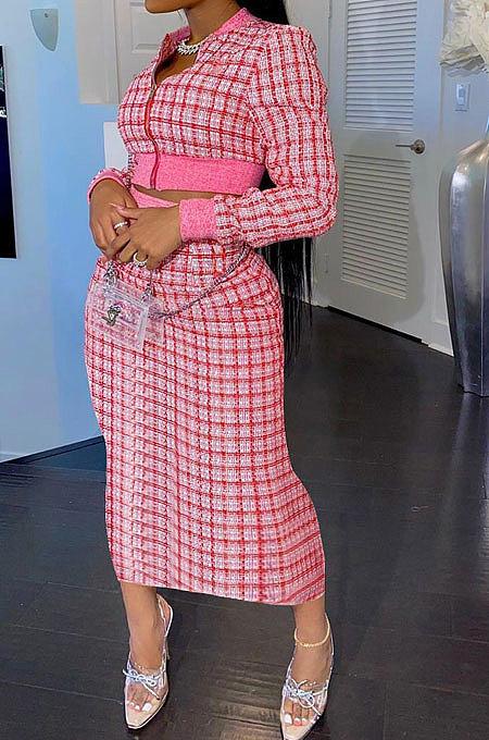 Red Women Digital Printing Ribber Long Sleeve Zipper Hip Skirts Sets YLY2666-2