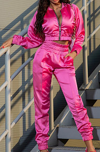 Pink Casual Quality Long Sleeve Zip Front Coat High Waist Ankle Banded Pants Solid Color Sport Sets HHM6529-2