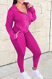 Black Euramerican Women Zipper Hooded Fashion Sport Pure Color Long Sleeve Pants Sets XT8888-1