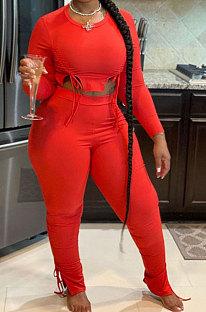 Red Autumn Winter Fashion Women Shirred Detail Ribber Pure Color Split Pants Sets XT8112-2