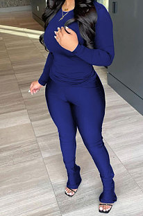 Drak Blue Wholesale Pure Color Long Sleeve Round Neck T-Shirts Bodycon Flare Pants Casual Sets CYY00033-1
